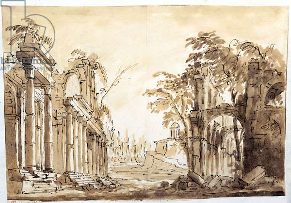 Scene from Act One of the opera 'Lucio Silla' by Wolfgang Amadeus Mozart, 1772 (pen & ink on with wash on paper)