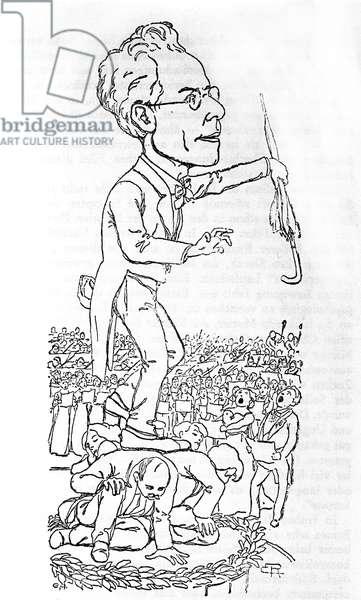 Gustav Mahler conducting, from 'Der Morgen', 12th September 1910 (litho)