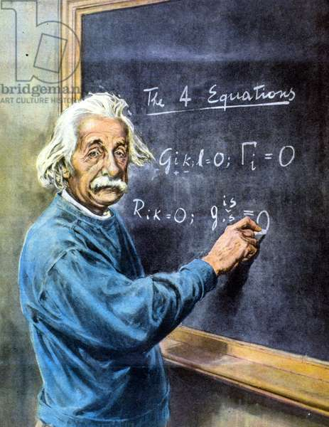 Albert Einstein makes a mathematical demonstration in the painting - drawing, 1950.