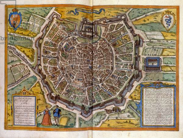 Map of Milan in 1585 from the Atlas of Braun & Hogenberg.