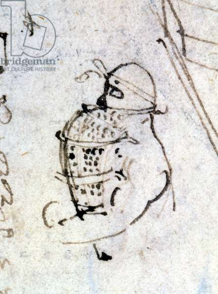 Drawing by Leonardo da Vinci representing the primitive lung bag for diving. Codex Atlantique.