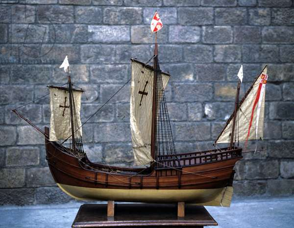 Miniature reproduction of the Pinta, caravel of Christopher Columbus.