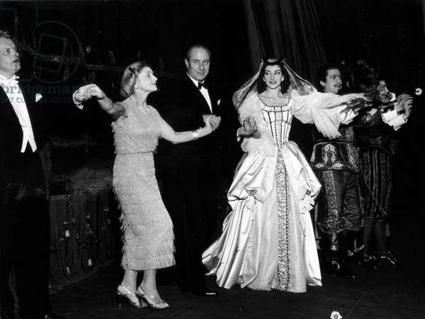 """Gianandrea Gavazzeni, Maria Waldman, Nicola Benois, Maria Callas, Giusppe di Stefano in """""""" Un ballo in maschera"""""""""""" (Bal Mask"""") by Giuseppe Verdi.Teatro alla Scala. 1957. Milan."""