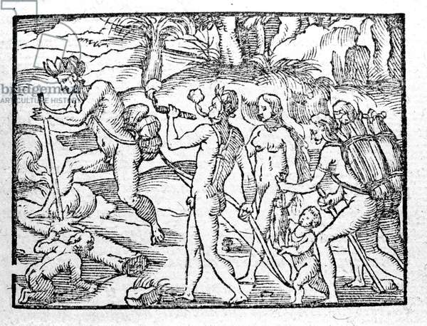 Wood engraving representing the New World Indians smoking.