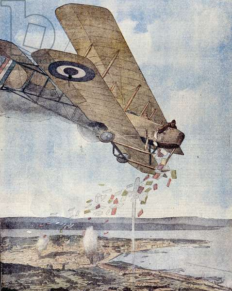 Flight over Trieste by Gabriele D'Annunzio (1863 - 1938): 08/1915 he made a flight and loose leaflets over the martyrdom city. Drawing by Ambrogio Lombardi.