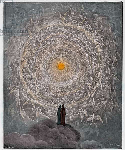 Paradiso, Canto 31  : The saintly throng form a rose in the empyrean (rose celeste), illustration from 'The Divine Comedy' by Dante Alighieri, 1885   (digitally coloured engraving)