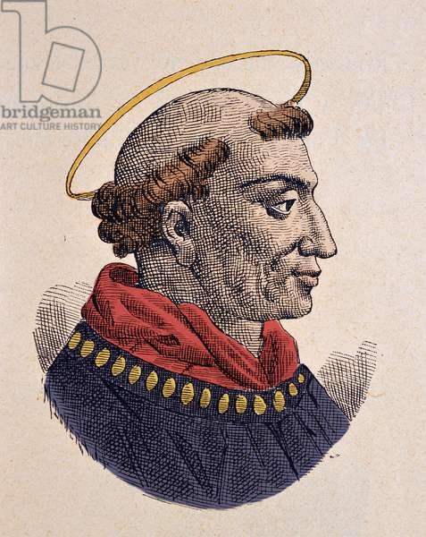 Portrait of the Pope Leon IV (Leo, Leone) (847-855), 1898 (engraving with later colouration)