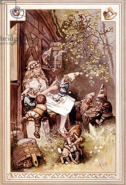 Snow White and the Dwarf Seven. Illustration by Hermann Vogel, 1895.