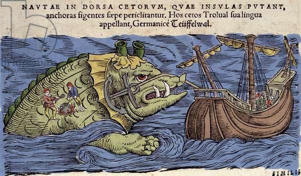 Sea Monster and Ship, illustration from 'Historiae Animalium' bu Conrad Gesner, 1560 (colour litho)