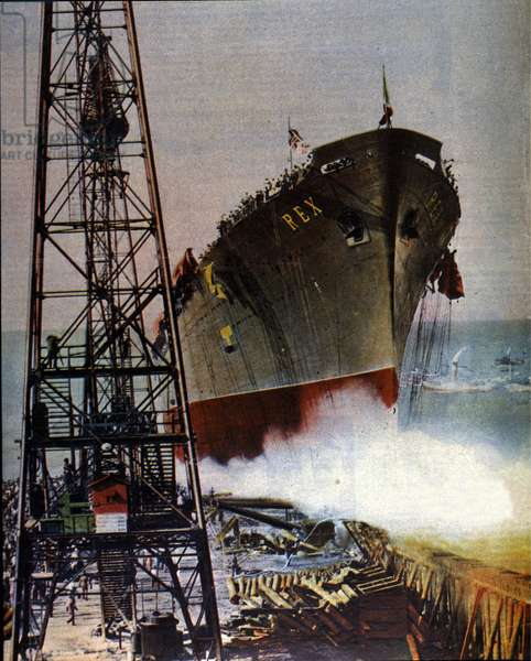 The launch of the Italian transatlantic liner Rex in the presence of King Victor Emmanuel III (Victor-Emmanuel) (Vittorio Emanuele) and Queen Helene of Montenegro, godmother of the liner. 1932