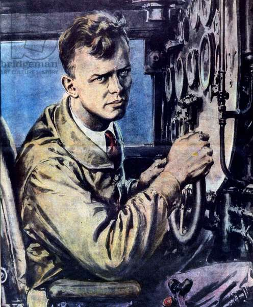 Portrait of Charles Lindbergh (1902 - 1974), American airman on the Spirit of Saint Louis monoplane aboard which he made the non-stop crossing of the North Atlantic in May 1927.