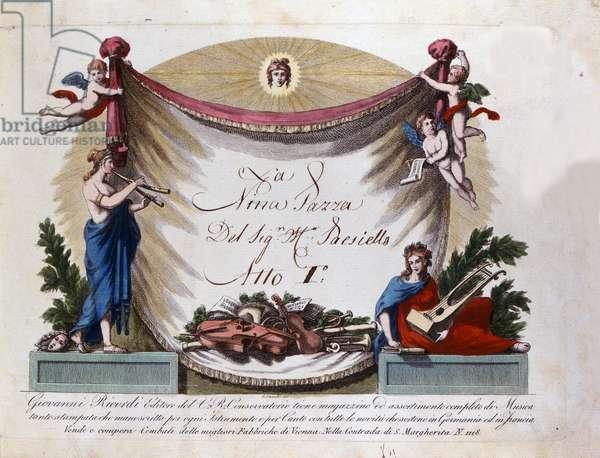 """Frontispice of """""""" Nina Pazza per Amore"""""""" by Giovanni Paisiello (or Paesiello or Paesieillo) (1740-1816), Italian composer. Bologna Conservatorio di musica"""