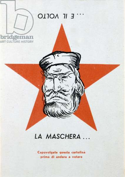 Italian anticommunist propaganda postcard from 1952. The Communist Party had chosen as its symbol the portrait of the national hero Giuseppe Garibaldi, first depicted on this card. When it is turned 180¡, the face becomes that of Stalin. (Optical illusion)