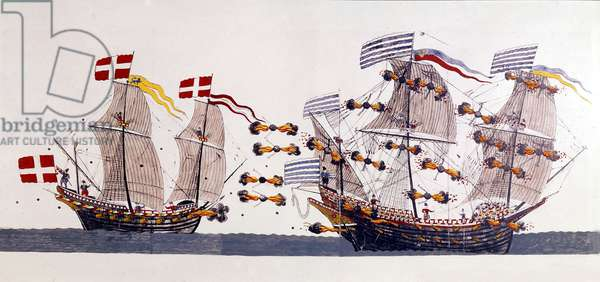 Naval Battle during the Northern Seven Years' War (coloured engraving)