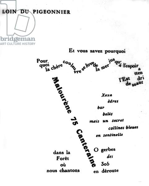 """Calligram by Guillaume Apollinaire (1880-1918): """""""" Far from the pigeonnier"""""""""""