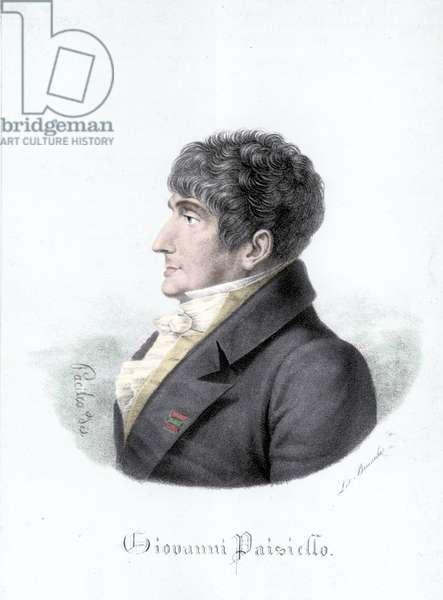 Portrait of Giovanni Paisiello (or Paesiello or Paesieillo) (1740-1816), Italian composer. Engraving of the 19th century