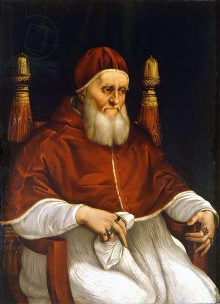 Portrait of Pope Julius II (1503-1513). Painting by Raphael (Raffaello Sanzio). Florence, Uffizi Museum.