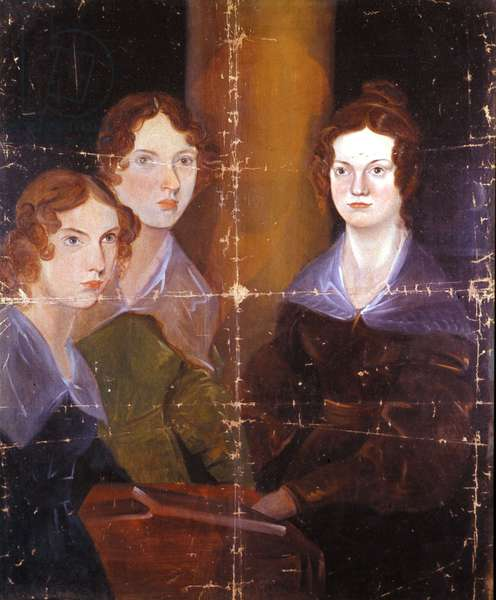 Portrait of the three Bronte sisters: Charlotte Bronte (1816-1855), Emily Bronte (1818-1848) and Anne Bronte (1820-1849), English writers. Painting of their brother Branwell Patrick Bronte (1817-1848). 1834.