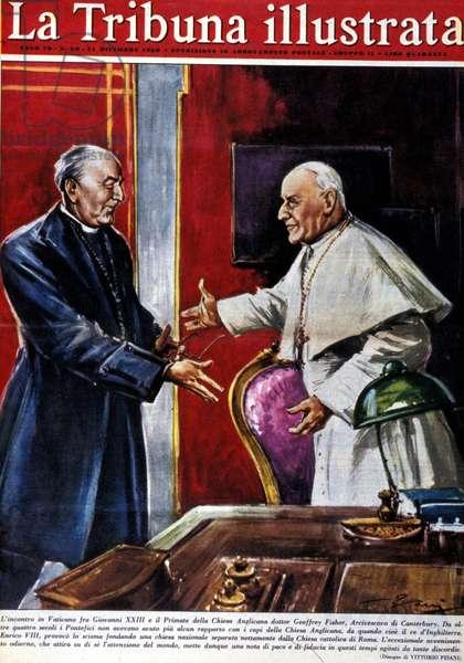 Ecumenical demonstration: handshake between Pope John XXIII (1881 - 1963) and the primate of the Anglican Church Geoffrey Fisher, archbishop of Canterbury. Illustration by Vittorio Pisani. La Tribuna illustrata. 11/12/1960.