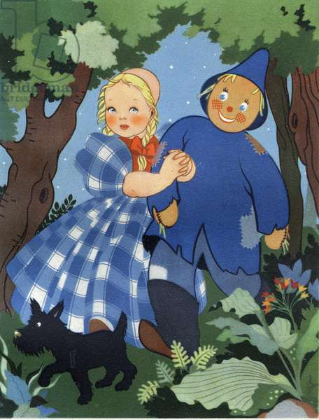 """Dorothy with the brainless scarecrow and his dog Toto. """"The Wizard of Oz"""" by Lyman Frank Baum (1856-1919). Illustration by Miki Ferro Pellizzari (1915-1981). Private collection. Dr. Careful! Use of this work may be subject to a third party authorization request or additional fees"""