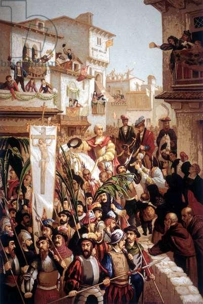 The return of Christopher Columbus (1451-1506), navigator of Italian origin, to Spain in 1493.