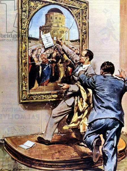 """Nunzio Guglielmo, mad painter, attacked the masterpiece of Raffaello de la Pinacoteca di Brera """"The Marriage of the Virgin"""" by Raffaello Sanzio, 1958 (illustration)"""