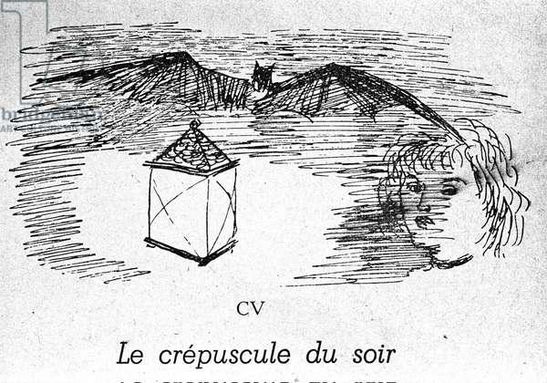 "Anonymous illustration for """" Le dusk du soir"""" by poet Charles Baudelaire (1821-1867) in """" Les fleurs du mal"""", sd"