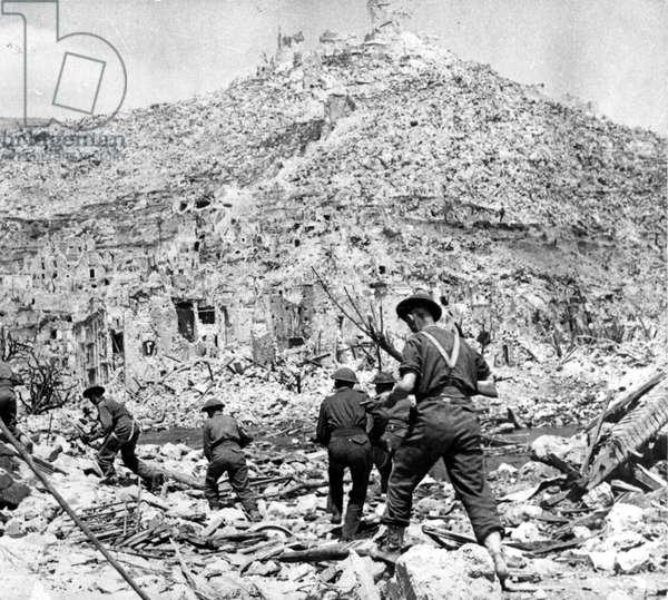 Battle of Monte Cassino in Italy during World War II. 1944