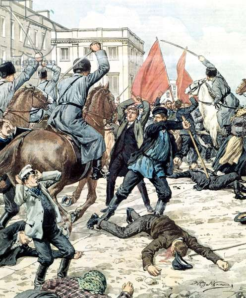 St. Petersburg, 1905. The police disperse the demonstrators.