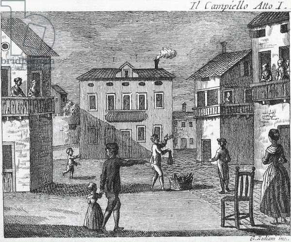 Il Campiello Act I - Carlo Goldoni (1707-1793) - Engraving of the 18th century