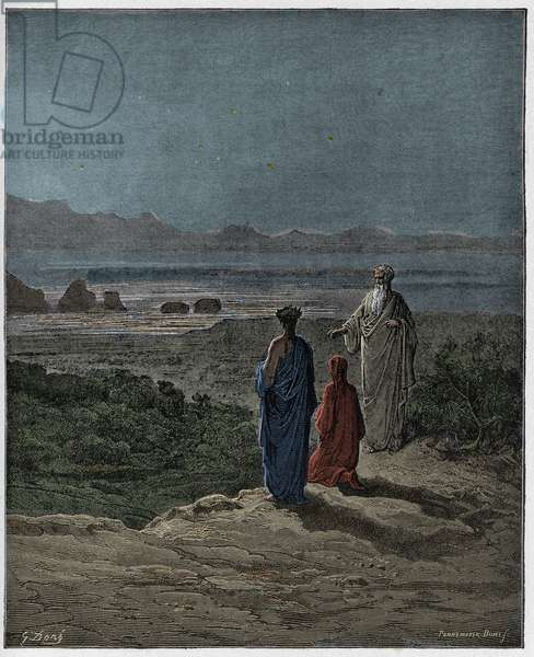 Purgatorio, Canto 1 : Dante kneels before Statius (Stace), illustration from 'The Divine Comedy' by Dante Alighieri, 1885  (digitally coloured engraving)