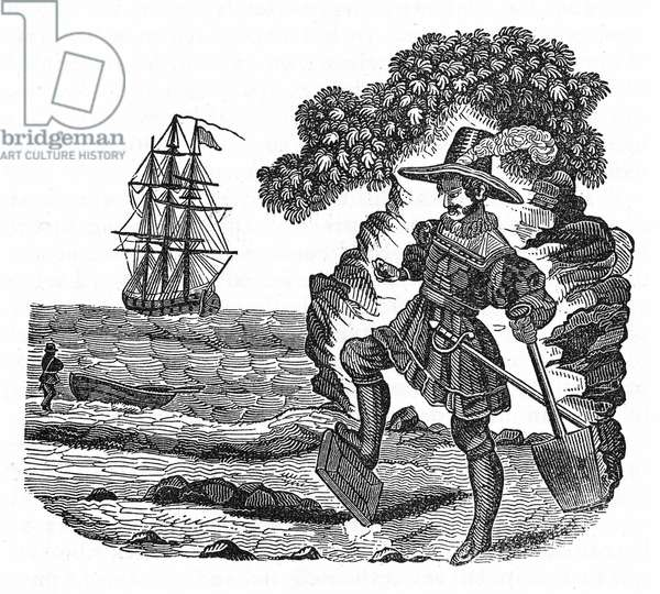 "Scottish pirate William Kidd (1645-1701) buries the Bible. Engraving of ""The pirate own book"", 1837."