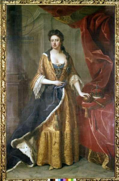 Portrait of Queen Anne Stuart (1665-1714). Painting 18th century. Natinal Maritim Museum, Greenwich.