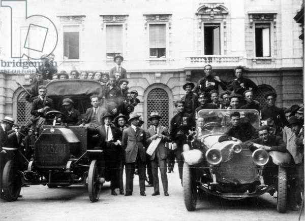Milan, 3 - 4 August 1922. The reaction of the fascists to the strike. Action teams (Squadre) on the Place de la Scala.