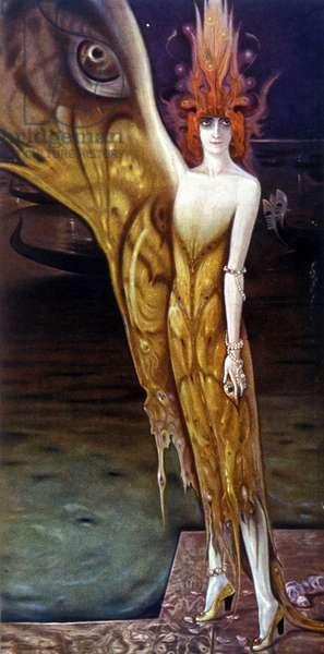 Portrait of the Marchesa (Marquise) Luisa Casati (1881-1957), by Arturo Martini (1885-1947) in 1912.