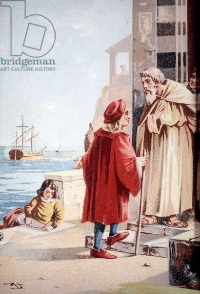 Christopher Columbus's childhood. 19th century chromolithography.