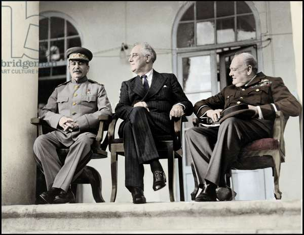 Teheran Conference - Sovietic leader Stalin (L), US President Roosevelt (C) and British Prime Minister Winston Churchill during the Tehran conference, the first inter-allied conference of World War Two, 28th November 1943 - Conference of Teheran - Stalin (1879-1953), Roosevelt and Churchill