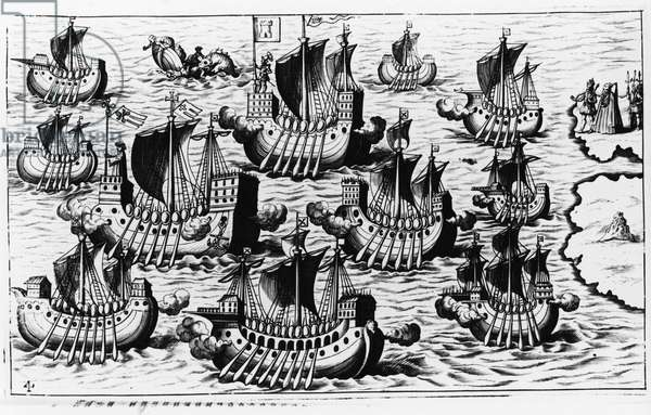 "The fleet of Christopher Columbus (Cristoforo Colombo) to conquer the new world - in """" Nova Tipus Transacto Navigatio Novi Orbi"""" by Philoponus Honorius, 1621."