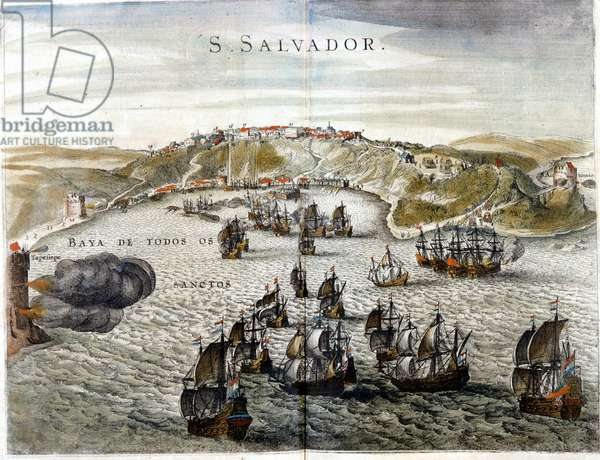 View of Salvador, formerly known as Bahia, capital of Brazil in 1549, when it was founded - Engraving of the 16th century