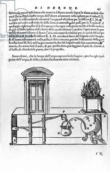 Automatic mechanism designed by Heron of Alexandria (the Elder) (1st century) for opening and closing the doors of a temple. Heron, Spiritalia, 16th century.