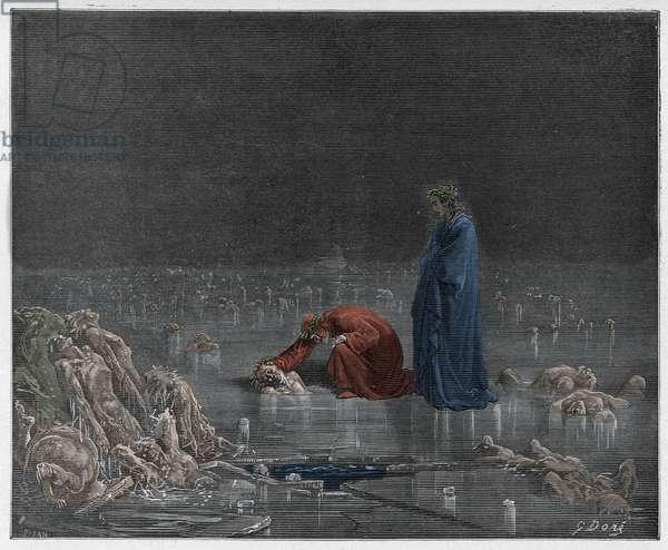 Inferno, Canto 32 : Dante addresses the traitor Bocca degli Abati, illustration from 'The Divine Comedy' by Dante Alighieri, 1885  (digitally coloured engraving)