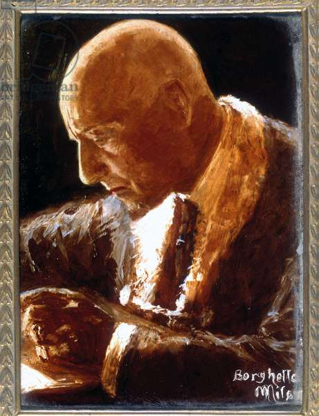Portrait of Gabriele d'Annunzio. Italian poet and writer. 1863-1938.painting by Borghetto Museo di storia contemporanea. Milan