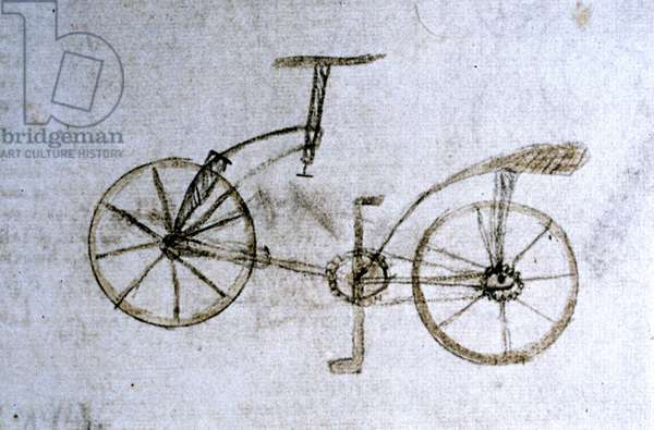 Drawing by Leonard de Vinci (Leonardo da Vinci) representing a bike. Codex Atlantic (Codex Atlanticus), folio 133 verso.