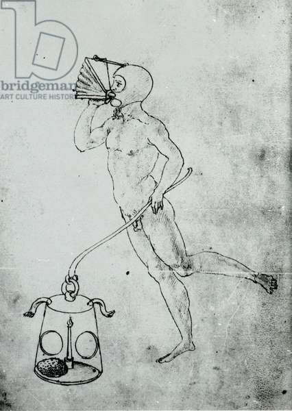 In a volume by Francesco di Giorgio appears this drawing depicting a bellows for breathing underwater, 15th century.