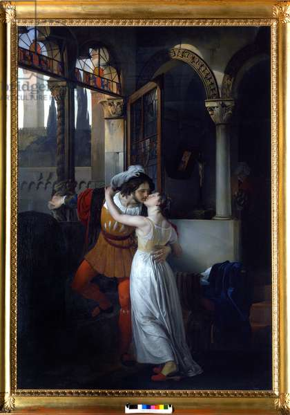 """The last kiss of """"Juliet and Romeo"""", by Shakespeare. Painting by Francesco di Hayez, 1823. Villa Carlotte. Lake Come."""