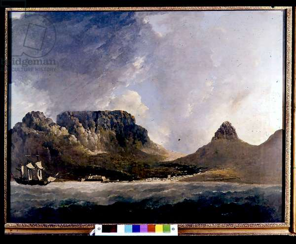 James Cook's HMS Endeavour at Cape of Good Esperance (Cape Town). National Marittime Museum Greenwich