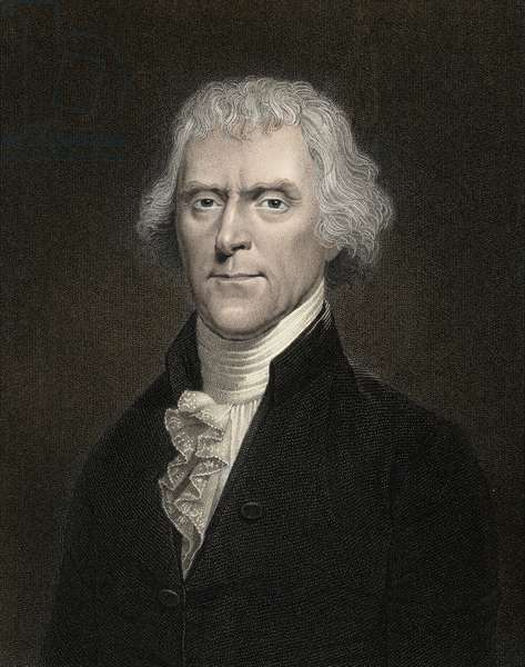 Portrait of Thomas Jefferson (1743-1826) President of the United States from 1801 to 1809 - Thomas Jefferson (1743-1826), 3rd President of the USA