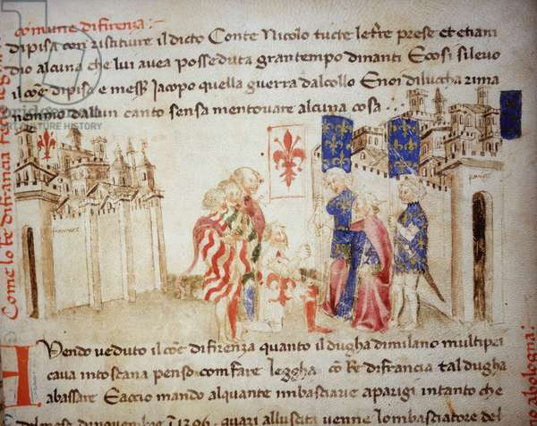 "Alliance of the King of France, Charles VI, with the commune of Florence in 1396 - in """" Croniche del Sercambi"""", circa 1400. National Archive, Lucca."
