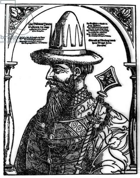 Portrait of Ivan IV the Terrible (1533 - 1584), Russian tsar. Xylography by Hans Weygel.