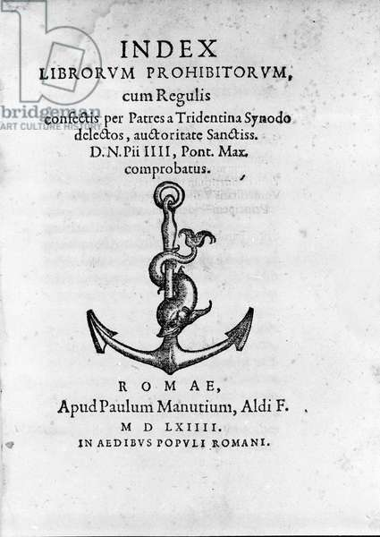 Frontispice of Index Librorum Prohibitorum (Index of Prohibited Books or Index Exurgatorius) published in Rome in 1564. He lists books that Roman Catholics were not allowed to read.